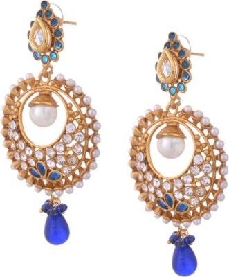 Young & Forever Blue Designer Creasent Copper Drop Earring