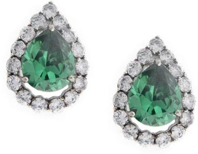 Treta Sparkling Pear Shape Sterling Silver Stud Earring