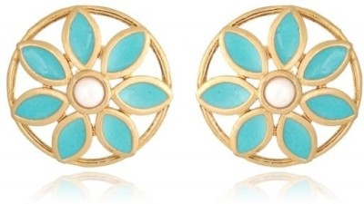 Rooh Jewellery Turquoise Brass Stud Earring