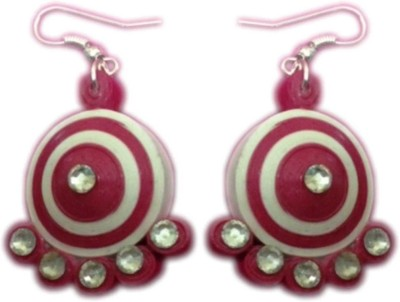Vaishali's Quilling Jewellery Pink and White colour Paper Drop Earring