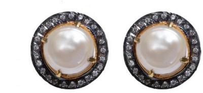 Gharaz Designer pearl studs Brass Stud Earring