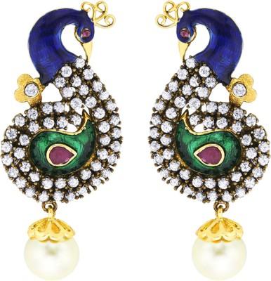 Peora Colourful Peacock Alloy Dangle Earring