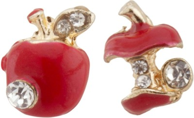 RIANZ New Highly Gold plated Green Colored Apple Shape Alloy, Crystal Stud Earring