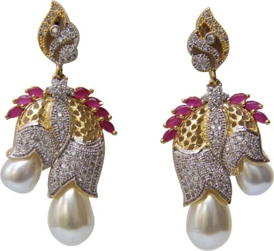 Maharani Jewellery Golden Pearl Alloy Drop Earring