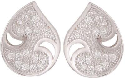 TUAN elegant drop shaped Cubic Zirconia Sterling Silver Stud Earring