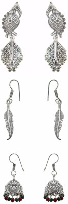 Chhayamoy Oxidised Silver Jhumki Bird Leaf Combo Alloy Earring Set