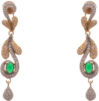 LAHARI ENTERPRISES designer fashion Pearl, Emerald Alloy Stud Earring