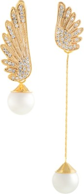 Aaishwarya Pearly Wing Asymmetric Alloy, Stone Drop Earring