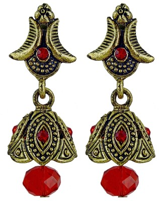 YUVEN Orange Color Pretty Antique Drop Zircon Brass, Alloy Jhumki Earring