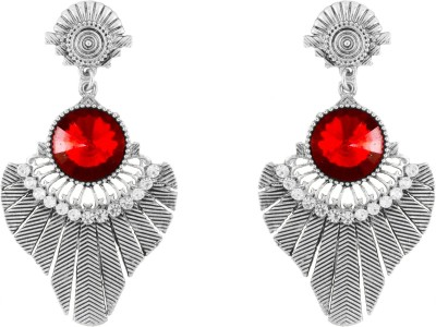 Donna Red Round Leaf Crystal Metal Drop Earring