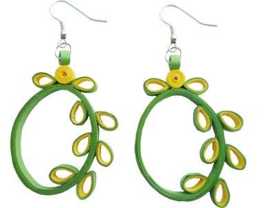 Designer's Collection Quilled Yellow & Green Designer Paper Drop Earring