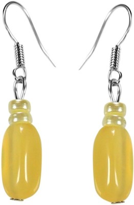 Crystals & Beads Citrine Yellow Colour Oval Moonball & White Pearl Bead Acrylic, Glass, Crystal Dangle Earring