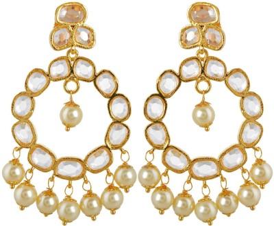 BHANSALI JEWELS Polki & Pearl Earrings Brass Chandelier Earring