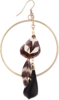 Oomph Gold & Brown Feather Fashion Jewellery Drop Earring for Women, Girls & Ladies (Single Piece) Metal Dangle Earring