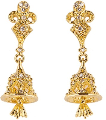 6LOTUS SHINY Cubic Zirconia Brass Jhumki Earring