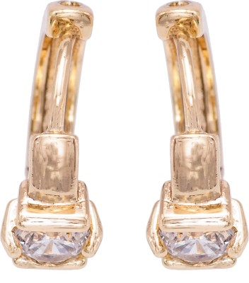 Parshwa Jewellery Solitaire Clip On Earings Cubic Zirconia Brass Clip-on Earring