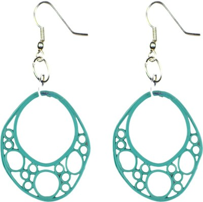 Trendmania Turquoise round paper quilled earrings Paper Dangle Earring