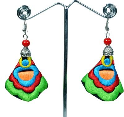 Angelfish Handmade colorful green embroidery long drop Fabric Dangle Earring