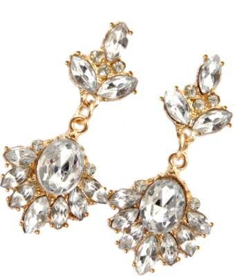 GiftPiper Stone & Resin Alloy Danglers- White&Gold Alloy Earring Set