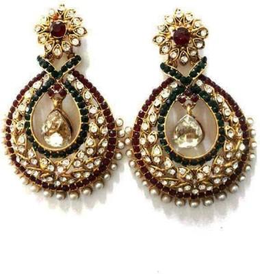 Aarnaa La Trendz White Tilak Designer Alloy Drop Earring