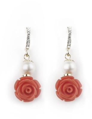 Jewelfin Orange Rose Alloy Drop Earring
