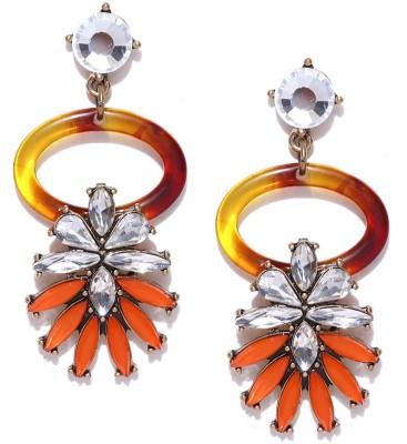 Oomph Gold, Orange & Brown Crystal Fashion Jewellery for Women, Girls & Ladies Metal Drop Earring