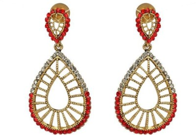 ACW Gold Plated White and Red Stones Hanging Earrings Metal Chandelier Earring