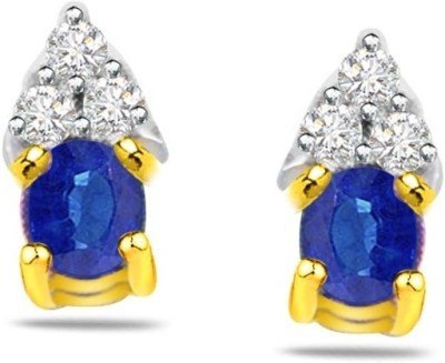 Surat Diamond Diamond, Sapphire Yellow Gold Stud Earring