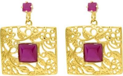 Eighth Fold Golden Pink Dangler Agate Brass Chandelier Earring