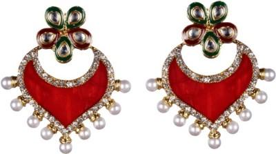 Tatva Exclusive Kundan And Zircon Diamonds Based Designer Mother Of Pearl Earrings Alloy Drop Earring
