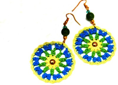 Saaheli Round - Green, blue and yellow Fabric Dangle Earring