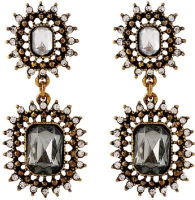 Aaishwarya Glamourous Antique Gold Crystal Alloy Drop Earring
