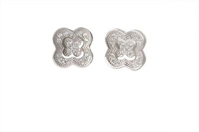 TUAN Flower shaped Diamond, Cubic Zirconia Sterling Silver Stud Earring
