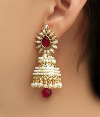 Shining Diva Bollywood Movie Aashiqui 2 Inspired Beads Polki Pink Pearl Alloy Jhumki Earring