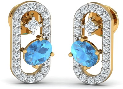 Zomint Stepping Blue Ladder Yellow Gold 18kt Diamond Stud Earring