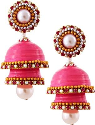 Jaipur Raga Hancrafted Single Stud Pink Double Jhumka Brass Jhumki Earring