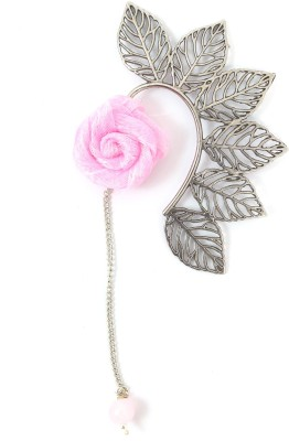 Ammvi Multi Leaves With Baby Pink Rose Charm Alloy Cuff Earring