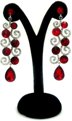 London Jewels Sparkling Red Alloy Drop Earring