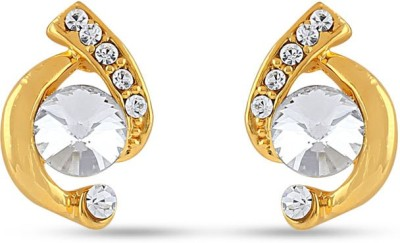 Rich Lady CZ EMBELLISHED REMARKABLE YELLOW GOLD TONED PAIR OF EARRINGS Brass, Stone Stud Earring