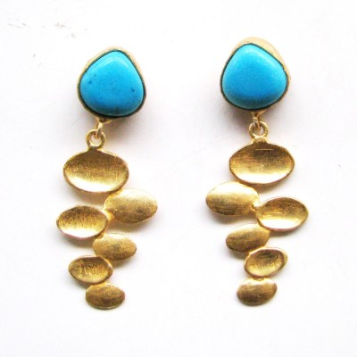 Bhrti semi precious Gold plated Turquoise Brass Dangle Earring