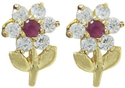 My Sara Ruby Sparkle Cubic Zirconia Brass Stud Earring