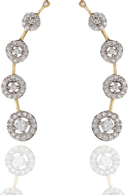 Chaahat Fashion Jewellery Gold Plated Cubic Zirconia Copper Cuff Earring