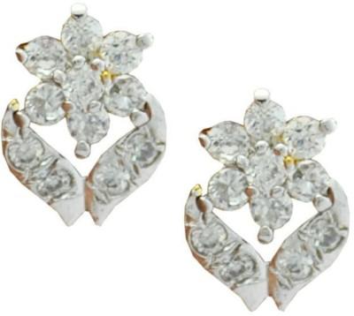My Sara White sparkle Cubic Zirconia Brass Stud Earring