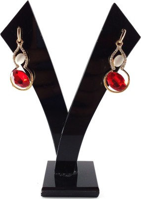 Divitha Allure red and golden elegant drops with monalisa stone. Alloy Drop Earring