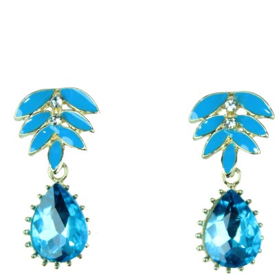 Vanity Roots American Diamond Luxe Blue Beads Crystal Alloy Drop Earring