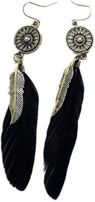 Young & Forever Black Vintage Boho Feather Alloy Dangle Earring