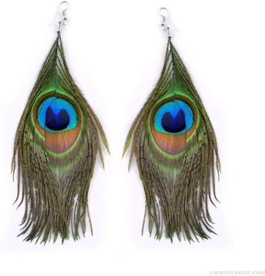French Aura Peacock Feather Alloy Drop Earring