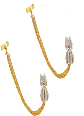 Enzy Cute Gold Plated Ear-Chain Earrings for Girls Alloy Cuff Earring
