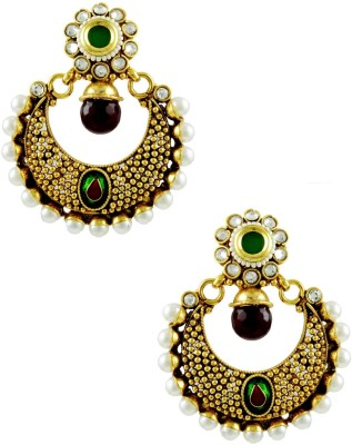 The Art Jewellery Ruby & Emerald Colored Chand Shaped Rajwadi with Border Brass Dangle Earring