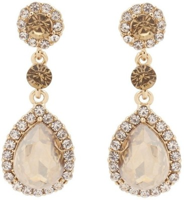 RIANZ New Gold Plated Champagne Crystal Water Drop Wedding Alloy, Crystal Dangle Earring